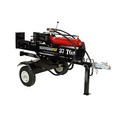 RuggedMade 37 Ton Hydraulic Gas Powered Log Splitter With Auto Return Detent Valve 16 GPM Hydraulic Pump 301cc Electric Start