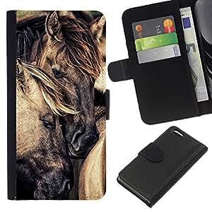 A-type (Mane Cute Love Horse Stallion Mustang) Colorida Impresión Funda Cuero Monedero Caja Bolsa Cubierta Caja Piel Card Slots Para Apple Iphone 5C