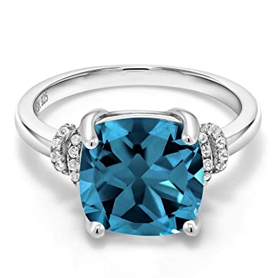 Gem Stone King London Blue Topaz 925 Sterling Silver Women S Ring Cushion Cut 4 64 Cttw Gemstone Birthstone Available In Size 5 6 7 8 9