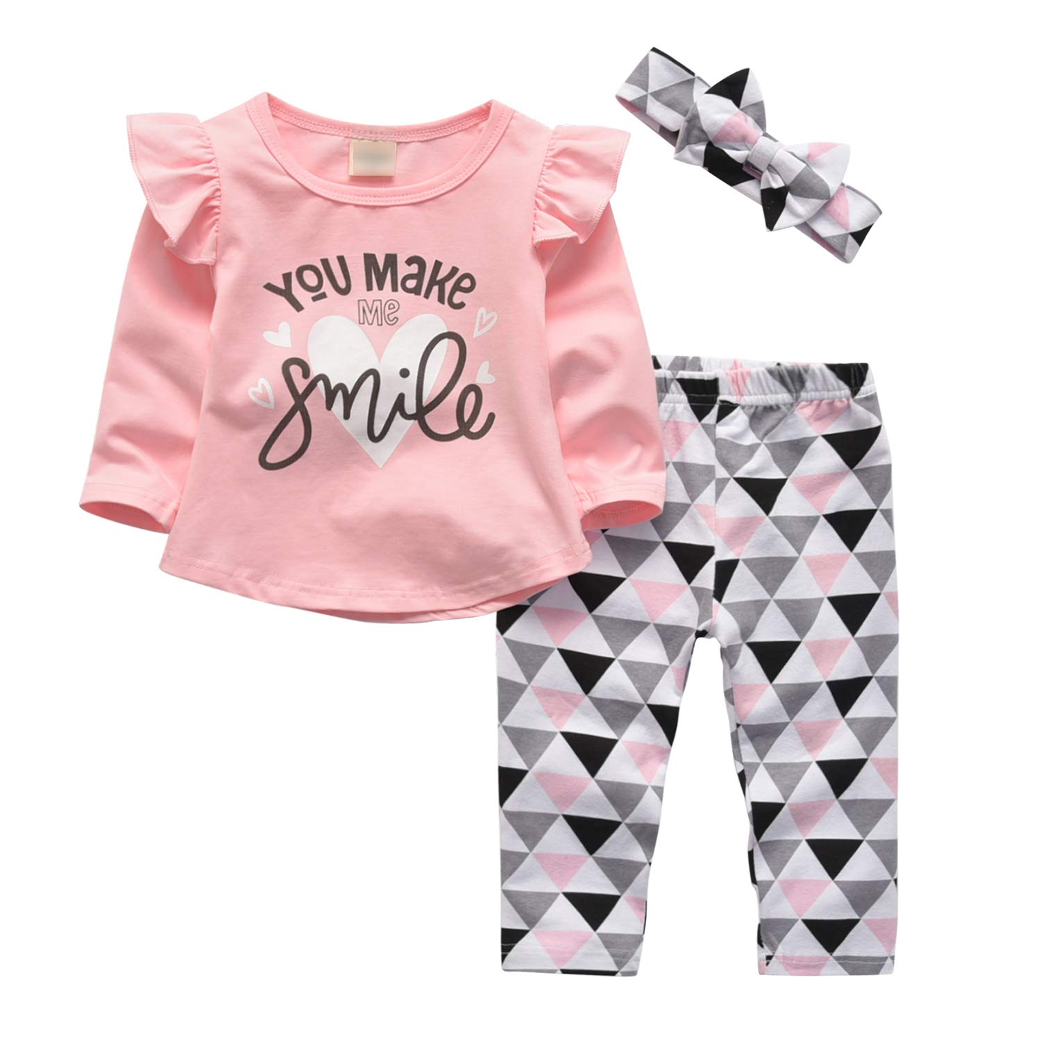 3 Pcs Baby Girl Clothes Long Sleeve Letter You Make Me Smile Tops Geometric Pants and Headband Outfit Set