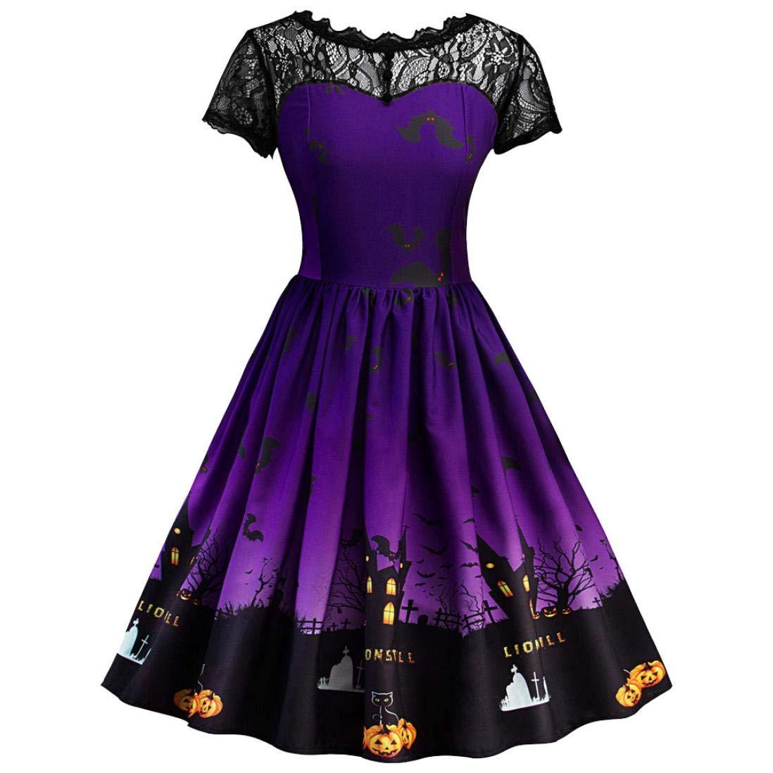 Womens Short Sleeve Retro Lace A Line Swing Dress Ladies Halloween Vintage Pumpkin Printed Dress