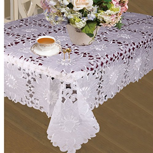 HomeCrate Cabernet Embroidered Sunflowers Cutwork Tablecloths 60