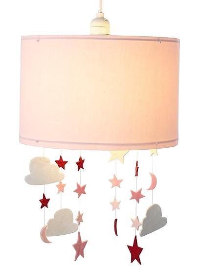 VERTBAUDET Pantalla de lámpara de techo Estrellas y Nubes Rosa Medio Liso Con Adorno UNICA