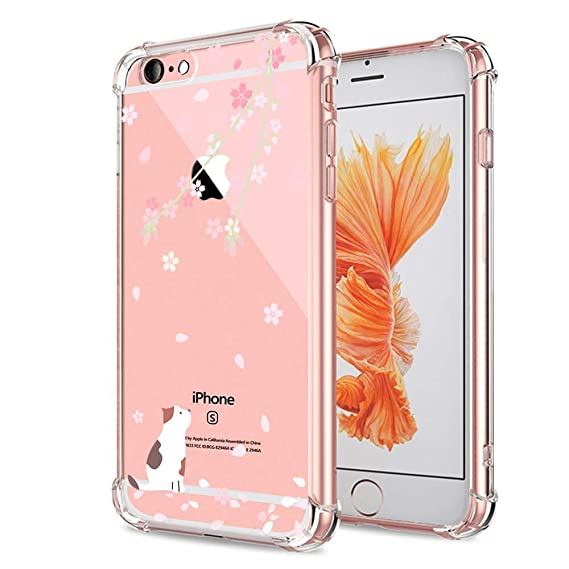 Cat iPhone 6 6S Case for Teens Girls Clear with Cute Floral Kitten Design Bumper Protective Case for Apple iPhone 6 6S Case 4.7 Inch Slim Fit ...