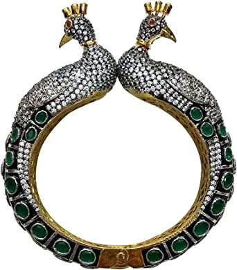 Babosa Sakhi Peacock Bangle Antic Diamond Cut Openable Black Green Cuff Bracelet