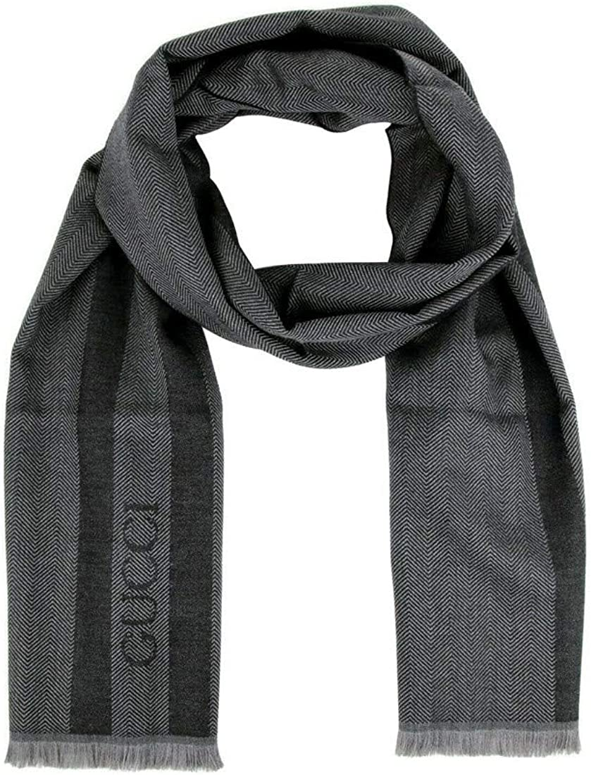 Image of Gucci Unisex Wool Ombre Grey Embroidered Logo Striped Scarf 544628 1163