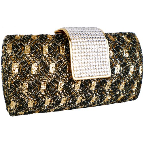 MG Collection Golden Black Vintage Rhinestones Baguette Clutch Evening Bag