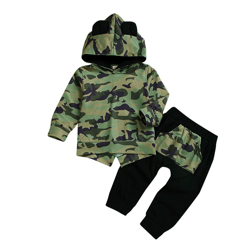 ☺HWTOP Hoodies + Hosen Kleinkind Baby Junge Sweatshirts Sporthosen Cartoon Ears Tarnung Pulli Tops Premium Trainingsanzü ge Sets