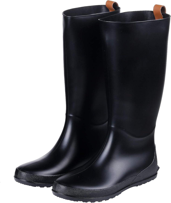 Women's Tall Rain Boots Flat Heel Lightweight Wellies Rain Boots Waterproof Garden Shoes