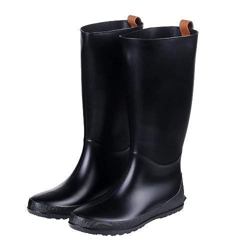 Amazon.com: Botas de lluvia altas para mujer, tacón plano ...