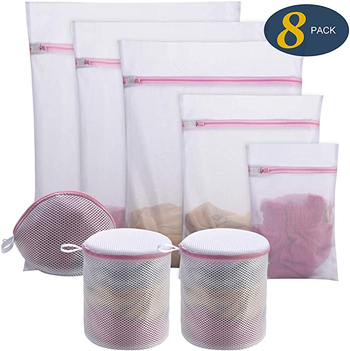 Seamei 8Pcs Mesh Laundry Bags for Delicates with Premium Zipper, Travel Storage Organize Bag, Clothing Washing Bags for Laundry, Blouse, Bra, Hosiery, Stocking, Underwear, Lingerie