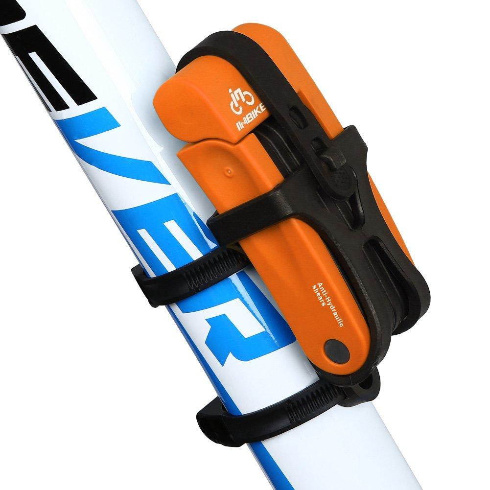 Inbike Candado Plegable Anti-robo con Soporte de Plástico de Acero para Bicicleta(Naranja, Anti-hidráulico)