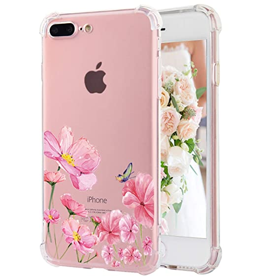 Iphone 8 Plus Iphone 7 Plus Case Cute Flowers Watercolor Floral Pattern Clear Soft Tpu Back Cover Slim Flexible Shockproof Protective Bumper Fun Phone