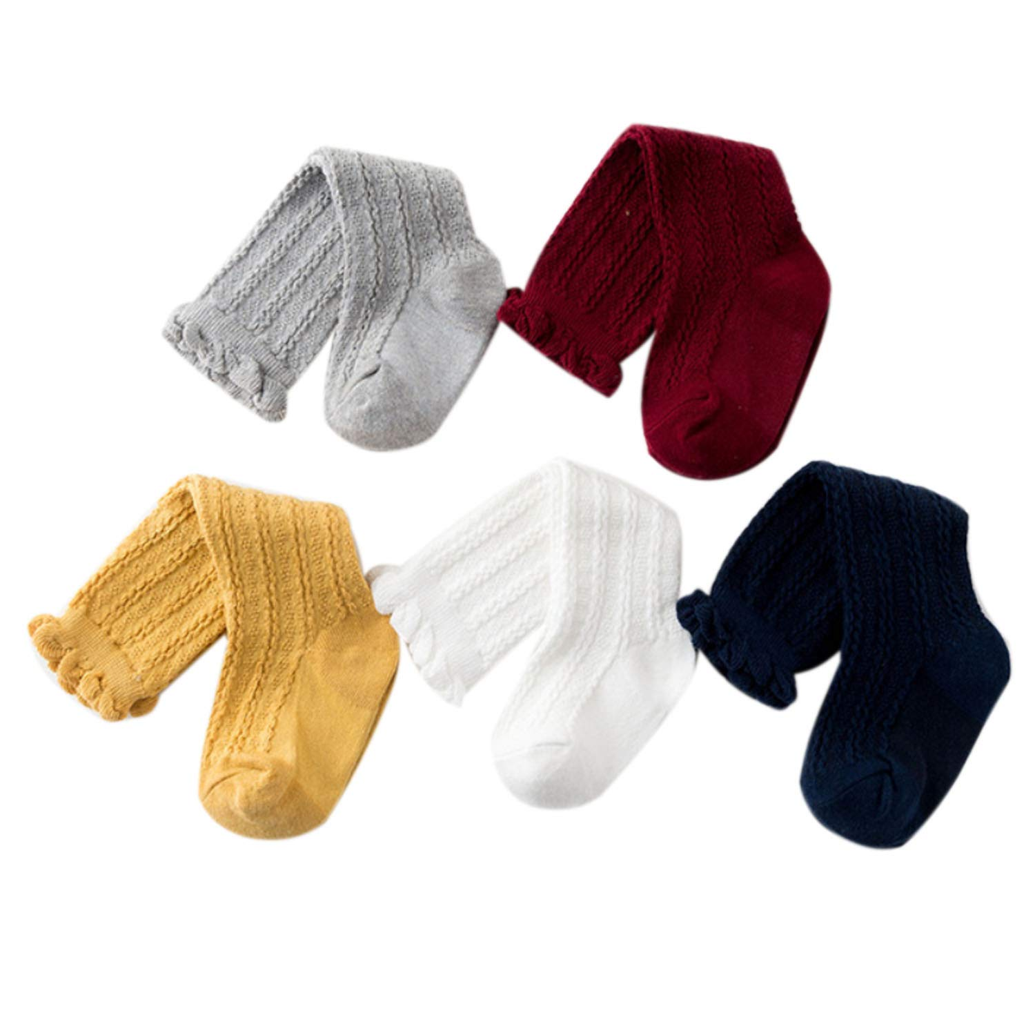 Kaariss Newborn Baby Girl Boy Toddler Cable Knit Knee High Cotton Socks 5 Pack