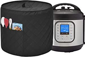 Dust Cover for Instant Pot Pressure Cooker, Cloth Cover with Pockets for Holding Extra Accessories, Waterproof Easy Cleaning,Can Ironable (Black, For 8 Quart Instant Pot)