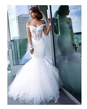 729fc92ef4 Women s Off The Shoulder Wedding Dresses Ball Gown Long Sleeve Mermaid  Tulle Wedding Dresses Bride 2019 at Amazon Women s Clothing store