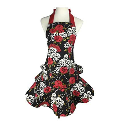 340359c2cbc96 Amazon.com: Lovely Floral Aprons for Women with Pockets Style Ruffle ...