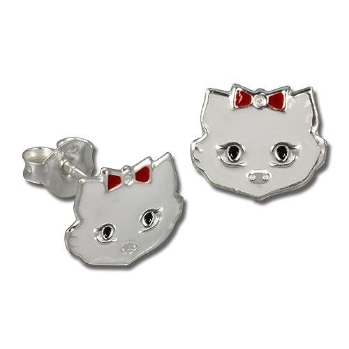 925 Sterling Silver enamel WHITE CAT stud earrings
