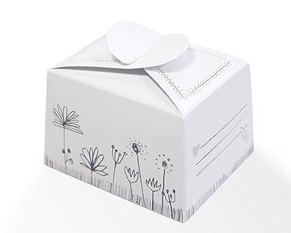 10 Kleine Pralinenschachteln Kartonagen Kuchenschachteln Zum Selbst Befüllen Weiß Grau Mit Blumen Im Vintage Design Für Süßigkeiten