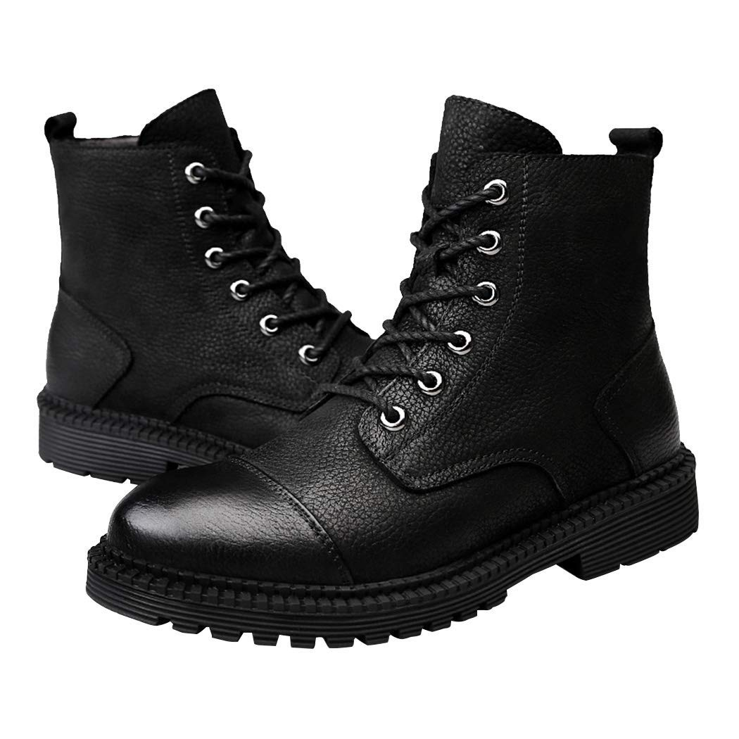 Mens Outdoor Leisure High Top Work Shoes Premium Leather Warm Fur Lining Ankle Martin Boots