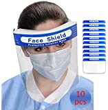 Giolshon Face Protection Protect Eyes and Face Anti-Fog Plastic Hat with Protective Clear Film Elastic Band Fluid…