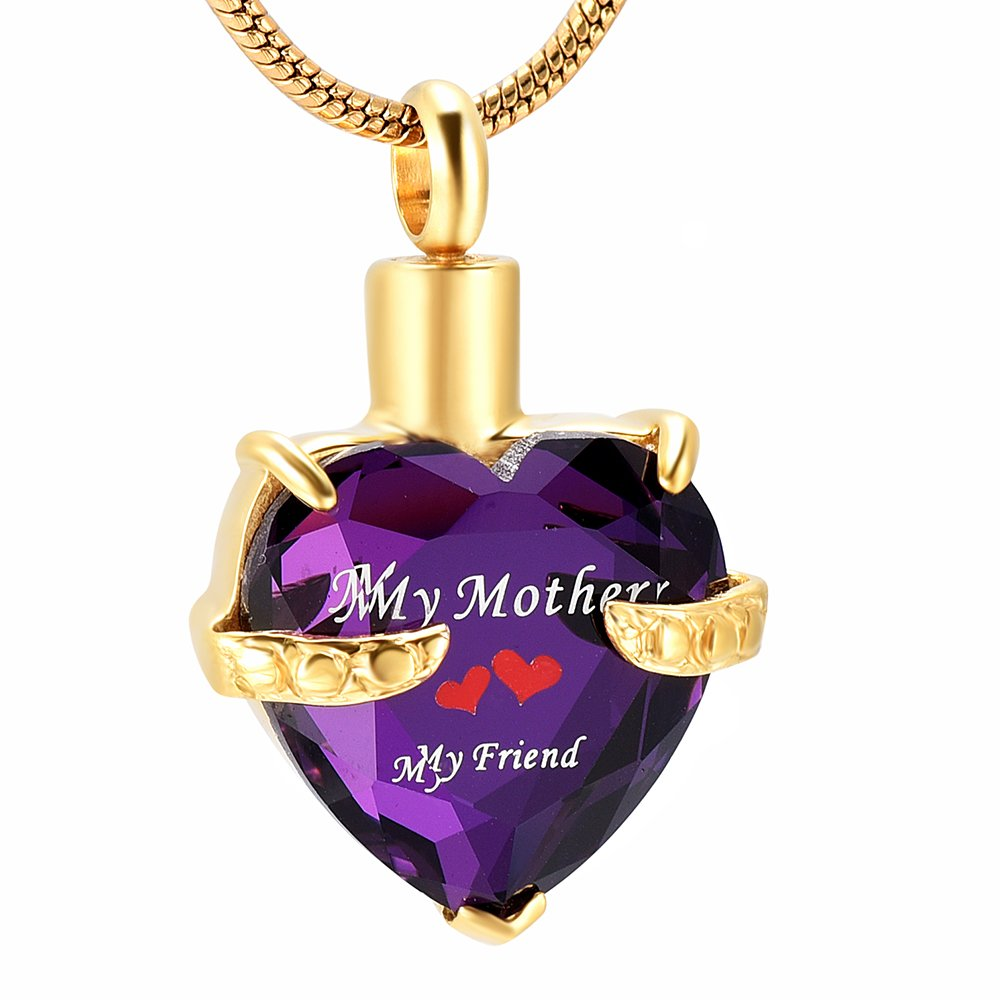 Memorial Jewelry Cremation Jewelry for Mom Glass Heart Urn Ashes Necklace Memorial for Loss of Loved One