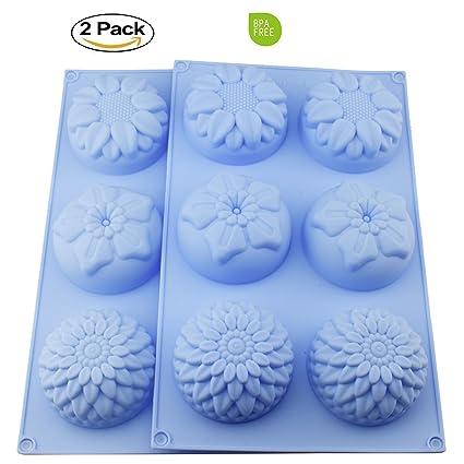 2 Paquetes 6-flower girasol crisantemo jabón Chocolate Muffin Cupcake molde de silicona para,