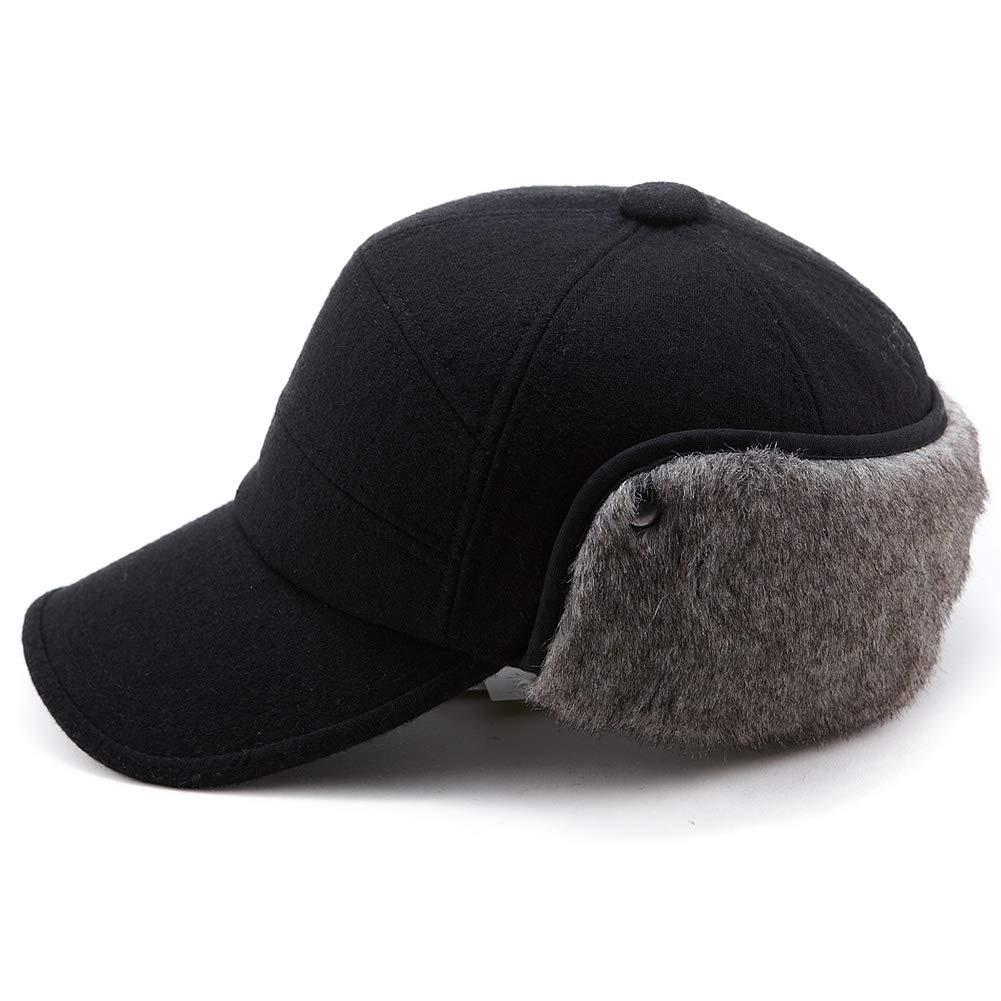 Mens Fitted Wool Baseball Cap Faux Fur Earflap Hunter Winter Army Elmer Fudd Hat Black by Fancet (Image #2)
