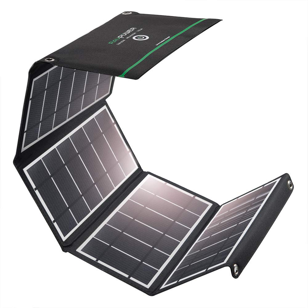 RAVPower Solar Charger 24W Solar Panel with 3 USB Ports Waterproof Foldable Camping Travel Charger Compatible iPhone X 8 7 6 Plus, Ipad Pro Air Mini, Galaxy S9 S8 Note 8, Nexus, LG, HTC and More by RAVPower