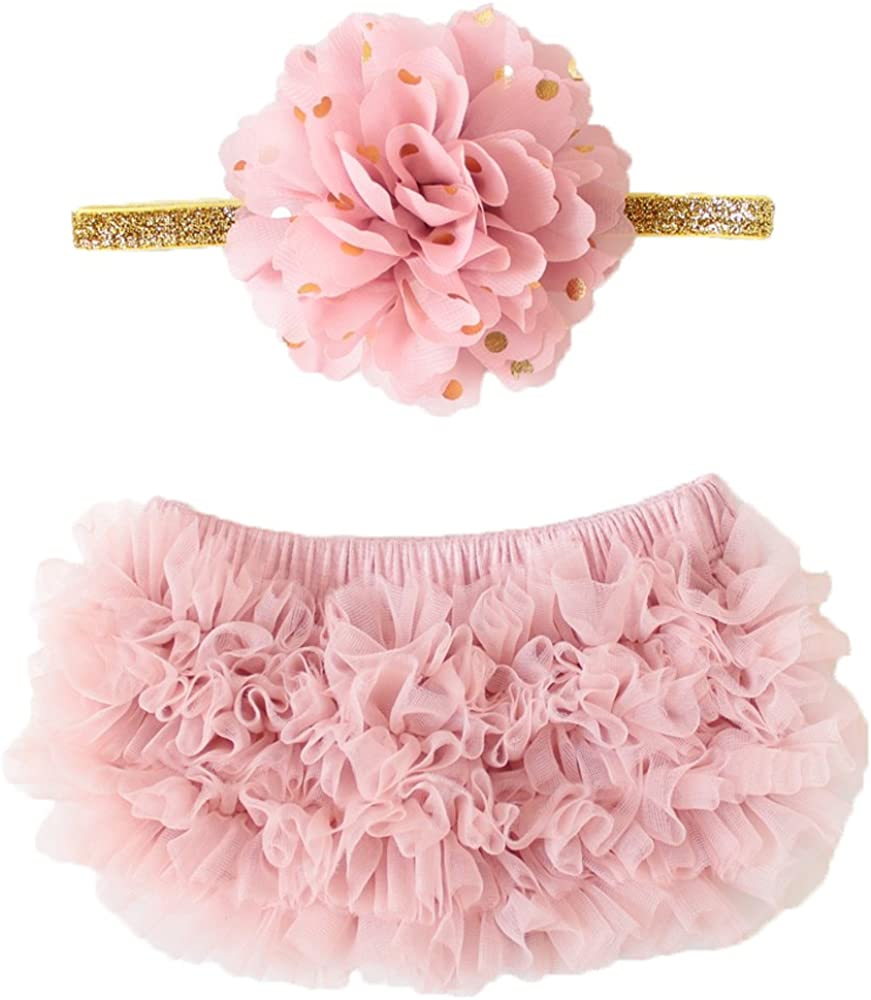 ACSUSS Newborn Infant Baby Girls Ruffled Bloomer Diaper Covers Photo Shoot Photography Props with Headband Baby Outfits