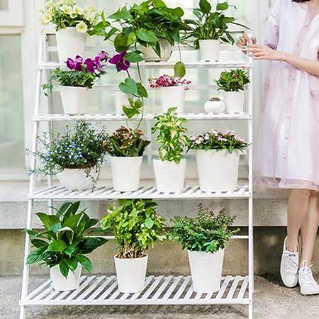 Soporte De Flores De 4 Capas Escalera Estantería Decorativas De Plantas Flores Para Decoración Exterior Interior Jardín Baño De Estante,White-122 * 100 * 47: Amazon.es: Hogar