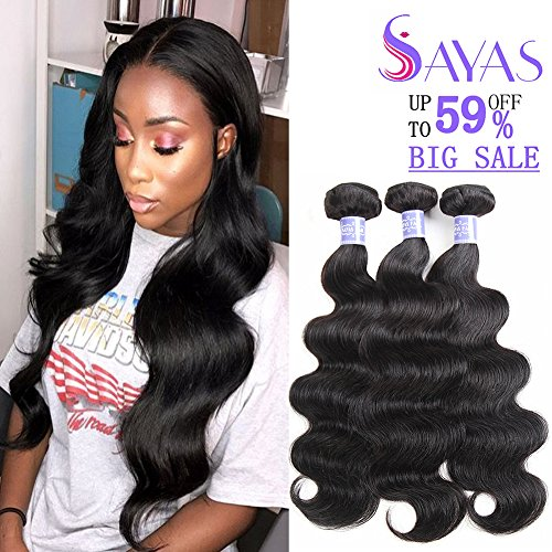 Sayas Hair 8A Grade Brazilian Body Wave Human Hair Bundles Weave Hair Human Bundles Brazilian Virgin Hair For African Americans Women 3 Bundles Total 300g/10.5oz (10 12 14) Inch