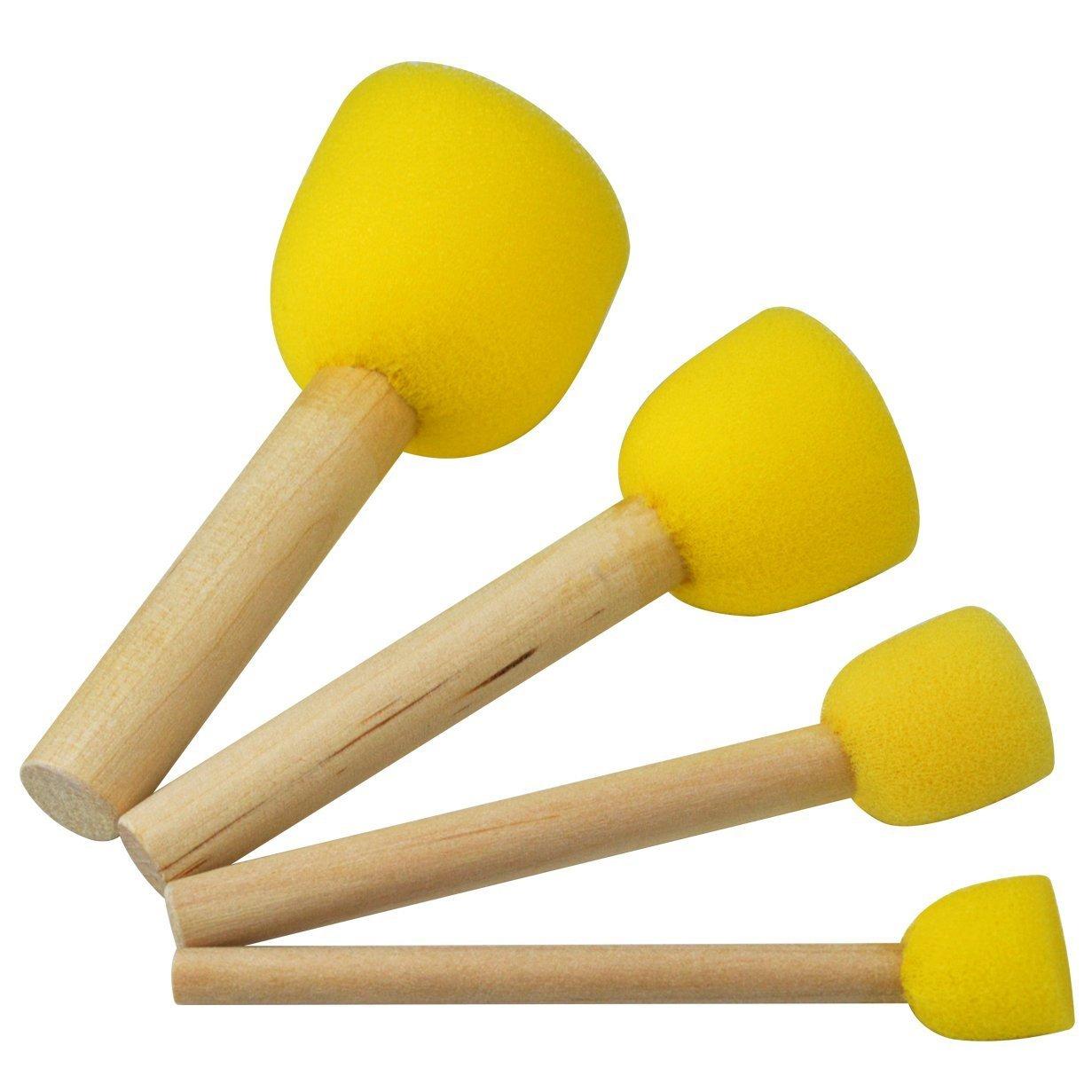 20 PCS Round Sponges Brush Set Kids Painting Tools Pistha Sponge Painting Stippler Set/Â/DIY Painting Tools in 4 Sizes for Kids