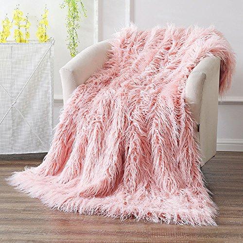 OJIA Super Soft Fuzzy Shaggy Mongolian Lamb Throw Blanket Plush Warm Fluffy Cozy Elegant Long Faux Fur Blanket Bedding Cover Chic Decorative For Bedroom Sofa Floor(50 x 60 Inch, Pink) (Bedding Throw)
