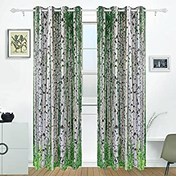 JSTEL Birch Tree Curtains Drapes Panels Darkening Blackout Grommet Room  Divider For Patio Window Sliding Glass