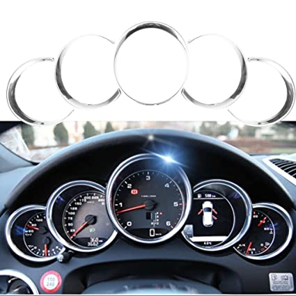 Xotic Tech 5pcs ABS Anodized Dashboard Meter Ring Instrument Frame Trim Covers for Porsche Cayenne 958