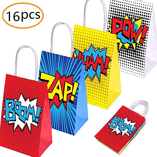 Superhero Party Supplies Favors,Superhero Party Bags For Superhero Theme Birthday Party Decorations Set of 16 (4 Colors) -