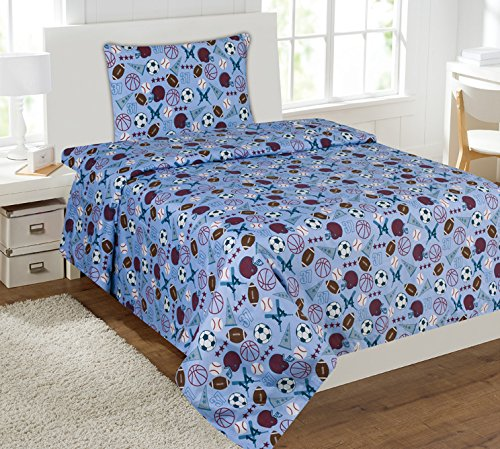 Twin Size Mk Collection 3pc Sheet Set Light Blue Baseball Basketball Football (Twin Baseball Bedding)
