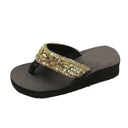 b22fd9d72190f Hot!! Summer Sequins Slipper Black Sole Flip Flops