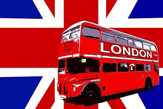 ENGLAND FLAG LONDON RED BUS PHOTO PICTURE PRINT ON FRAMED CANVAS WALL ART