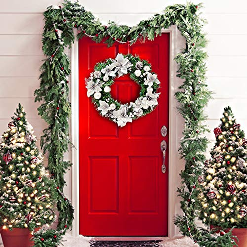 Christmas Wreath Indoors Outdoors Front Door Décor - X-Mas Hanging Decorations - Christmas Wreaths Holiday Table Centerpiece. Silver Style. Comes in Beautiful Packaging Makes it The Ideal Gift]()