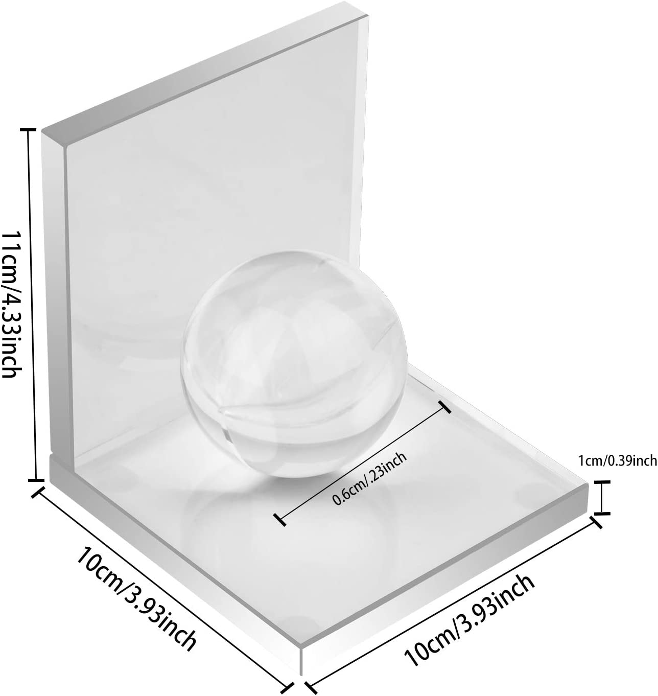 Decorative Ornaments A Special Gift 1 Pair L Shape Non Skid Sturdy Crystal Bookends for Heavy Books School Library MerryNine Innovative Crystal Bookends with Crystal Ball Bookshelf Office
