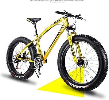 Qj Bicicleta De Montaña para Hombre, Bicicleta De Carretera Fat Tire De 26 Pulgadas, Bicicleta De Nieve, Bicicleta De Playa, Marco De Acero De Alto Carbono, 21 Velocidades,Oro: Amazon.es: Deportes y aire