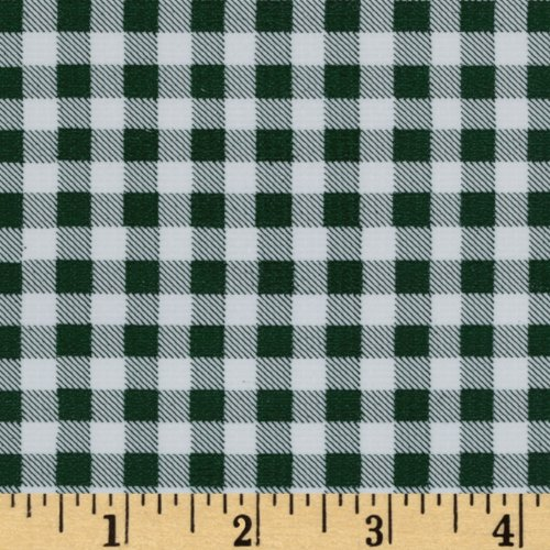 Oil Cloth International Oilcloth Gingham Bottle Green Fabric by The Yard, ()