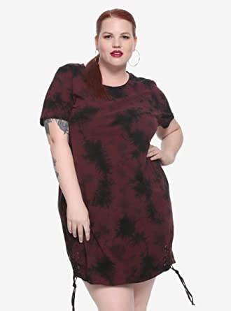 Hot Topic Burgundy Black Tie Dye T Shirt Dress Plus Size At Amazon