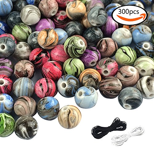 SHAN RUI 300pcs 8mm Multi Color Acrylic Round Loose Beads in Ink Patterns with 1 Black and 1 White Cord for Bracelets Jewelry Making