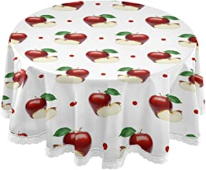 Dallonan Table Decoration for Party Fruits Apple Round Table Cloth, Red Polka Dot Polyester White Lace Tablecloth Round Table 60 Inch for Dinner Table Decor
