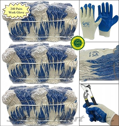 240 pairs wholesale Heng Rui Premium Blue latex coated white cotton Grip glove by Heng Rui (Image #4)