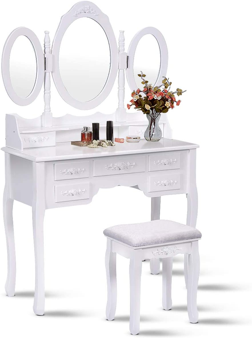 Giantex Tri Folding Oval Mirror Wood Bathroom Vanity Makeup Table Set with Stool &7 Drawers (White)