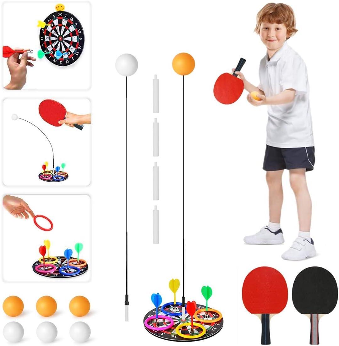 Bivan Entrenador de Tenis de Mesa, Dispositivo de Entrenamiento de Tenis de Mesa con Rebote De Eje Suave Elástico, Paseos Familiares para Niños Adultos para Principiantes